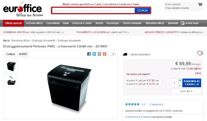 Coupon Euroffice Sconti.com Shop2