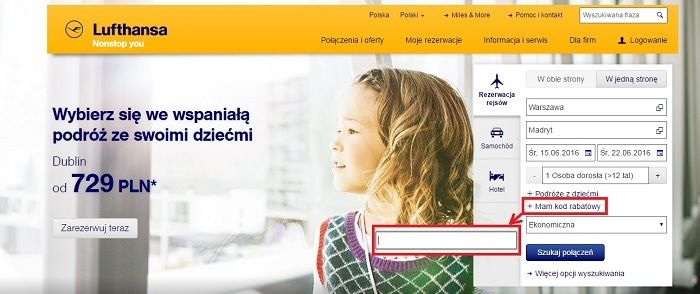 Lufthansa kod promocyjny kupon.pl