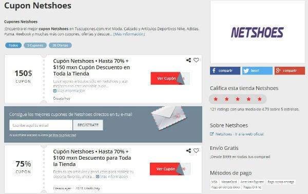 cupon de descuento Netshoes