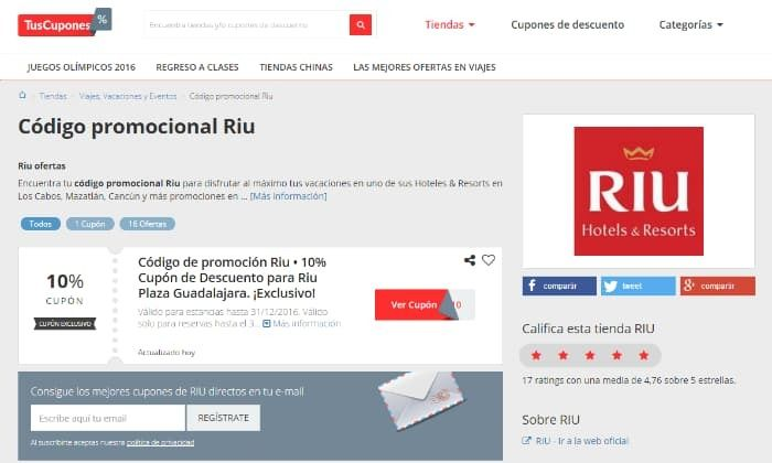 codigo promocional Riu