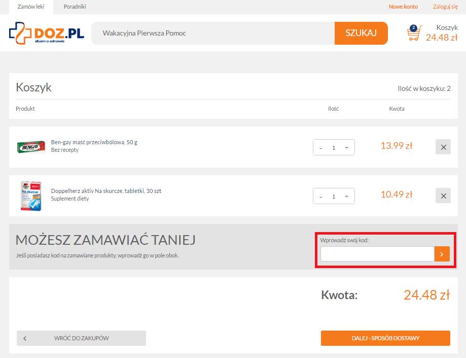 DOZ kod rabatowy jak wykorzystac kupon pl