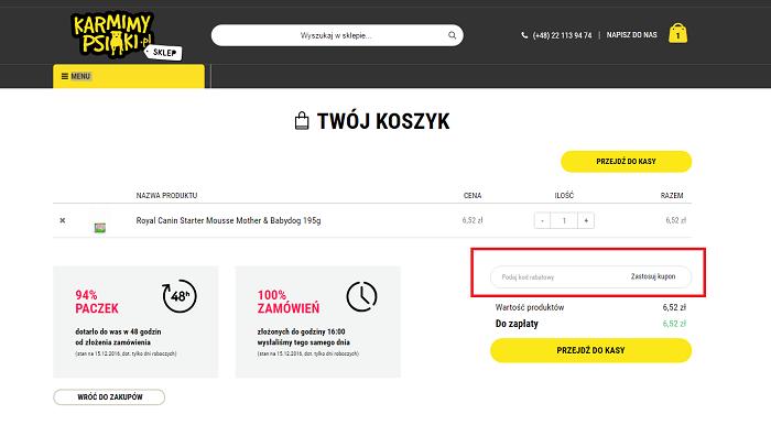 karmimypsiaki.pl jak dodac kod promocyjny