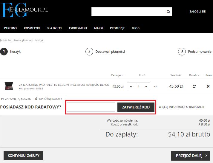 jak wykorzystac kod rabatowy e-glamour
