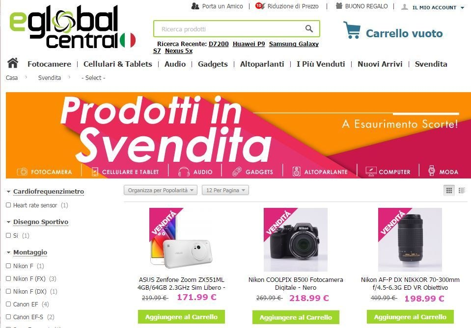 eGlobal Central Prodotti In Svendita