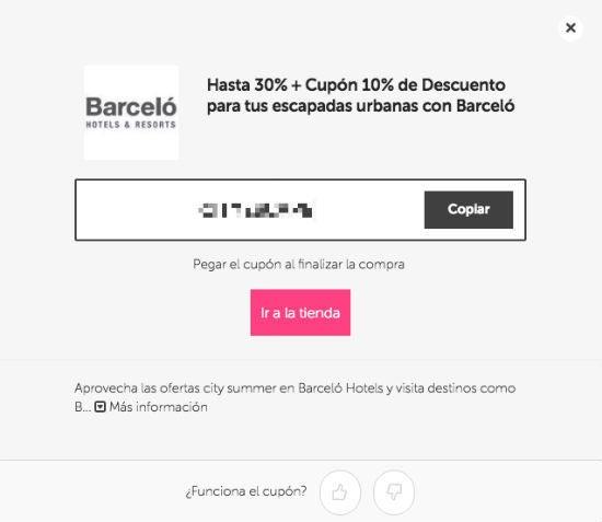 cupón Barceló
