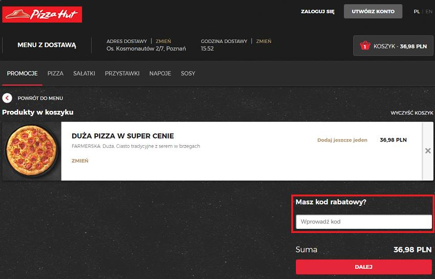 jak wykorzystać kod rabatowy pizza hut fakt