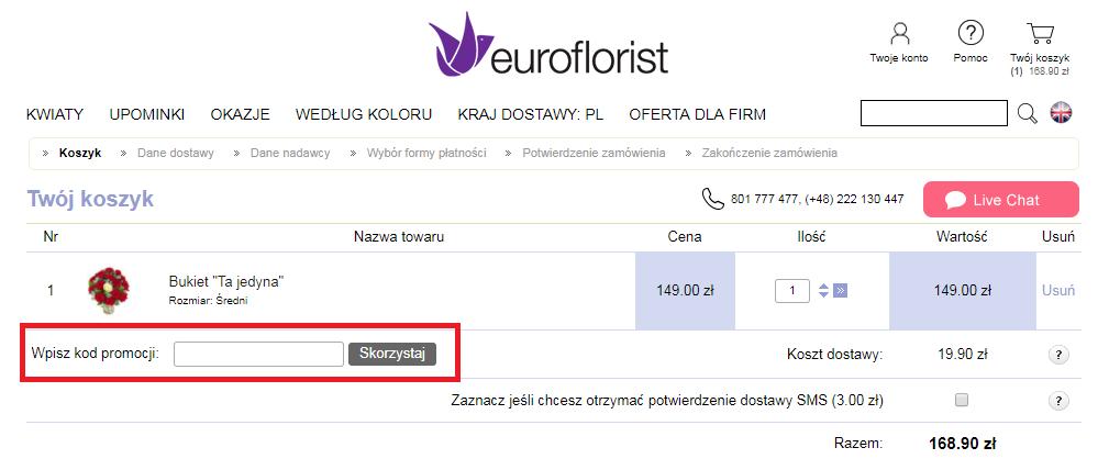 jak wykorzystać kod rabatowy euroflorist fakt
