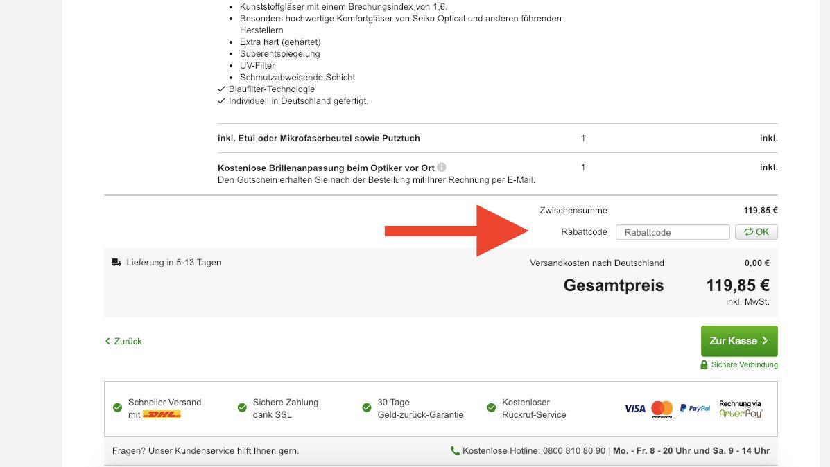 MisterSpex Gutscheineingabe