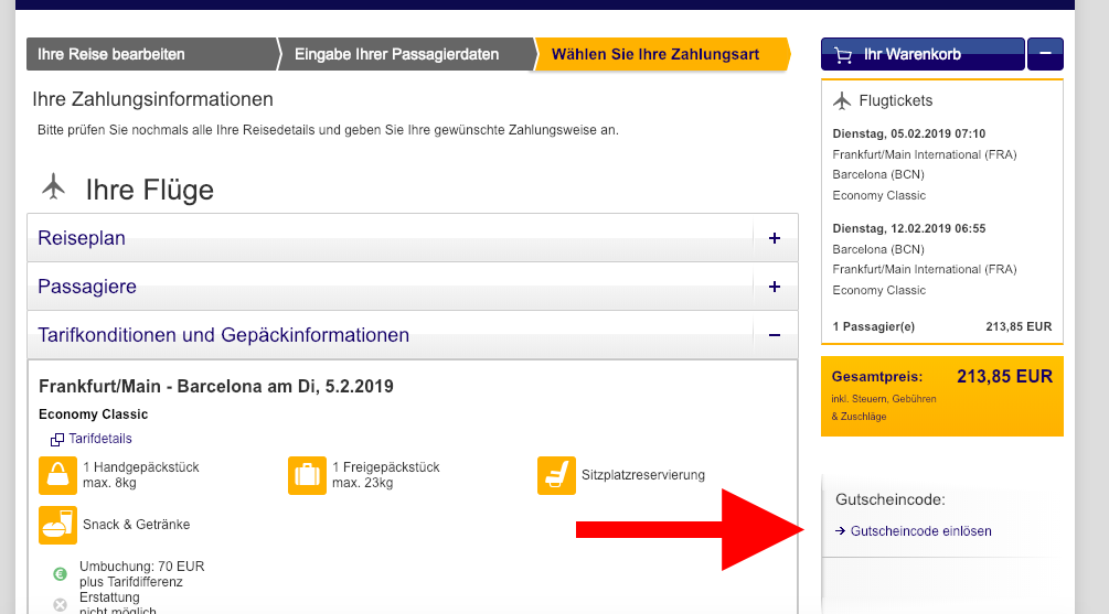 Gutscheineingabe Lufthansa