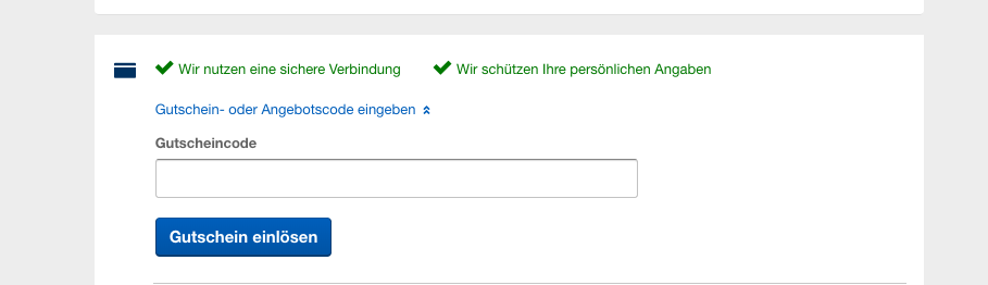 Expedia Gutscheineingabe