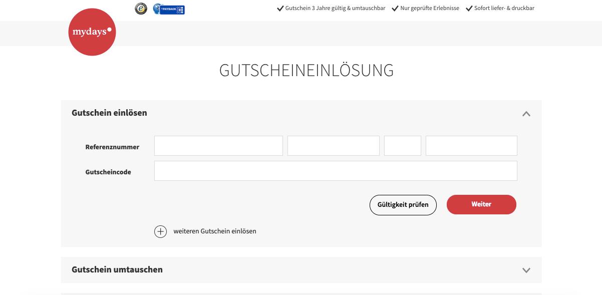 mydays Gutscheineingabe