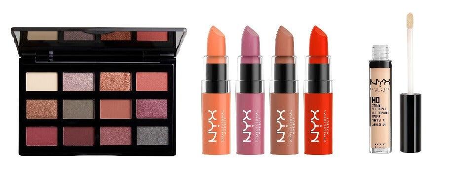 palette de maquillage, rouge à lèvres et concealer de la marque Nyx