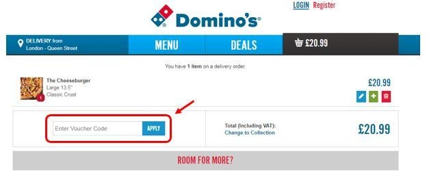 New codes for Domino's Pizza