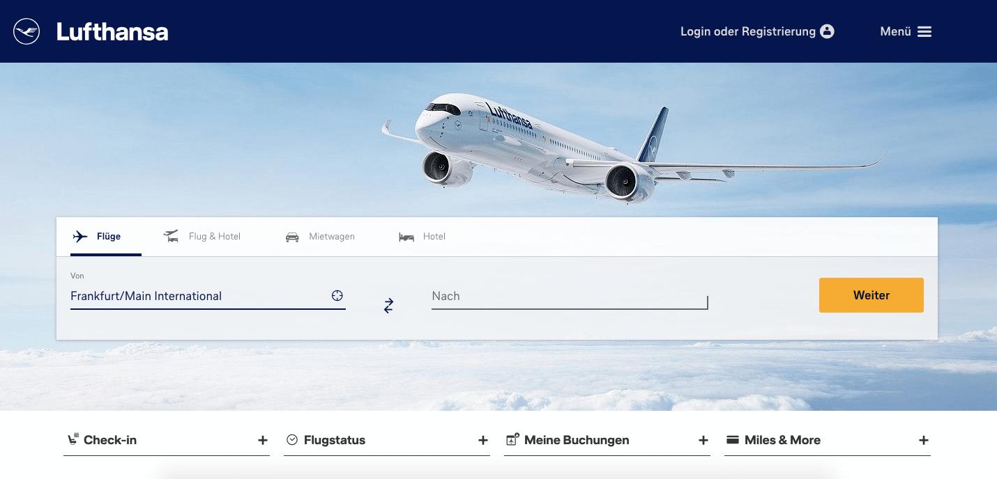 Lufthansa Startseite