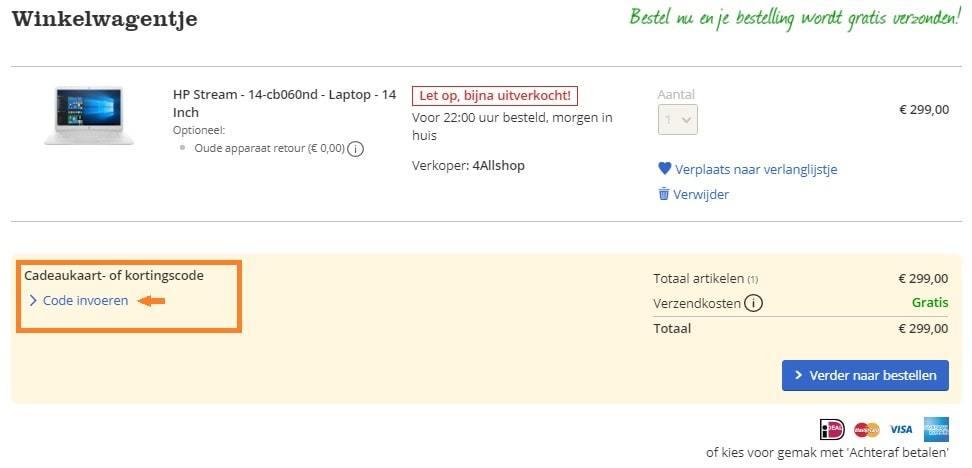 bol.com kortingscode inwisselen