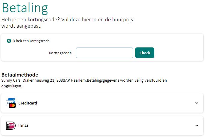 SunnyCars kortingscode gebruiken